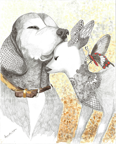 dog-deer-butterfly