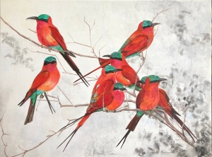 Carmine Bee Eaters Flock